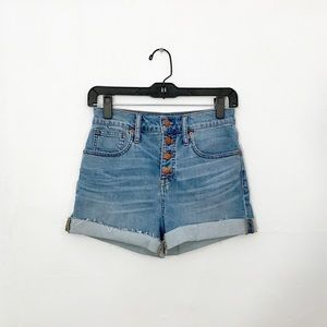 Madewell High Rise Denim Shorts Button Front Sz 25